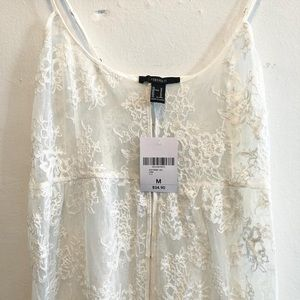 NWT Forever 21 White Lace Duster Cover Up Floral